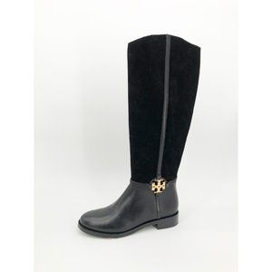 Tory Burch Miller Boot Suede Leather Riding Logo